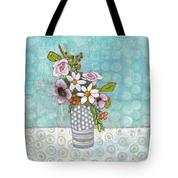 Sophia Daisy Flowers Tote Bag by Blenda Studio