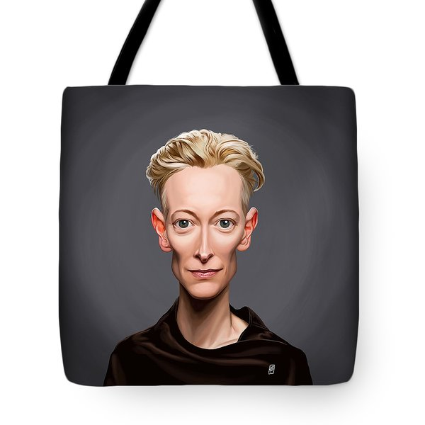 Tote Bag featuring the drawing Celebrity Sunday - Tilda Swinton by Rob Snow