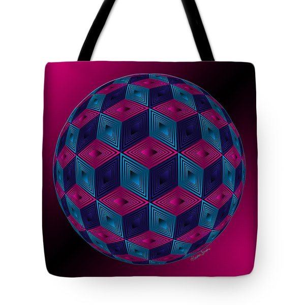 Spherized Pink Purple Blue And Black Hexa Tote Bag