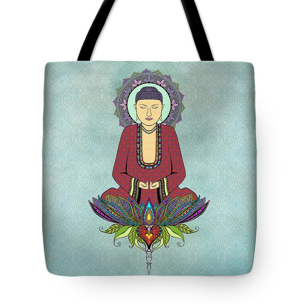 Tote Bag featuring the drawing Electric Buddha by Tammy Wetzel