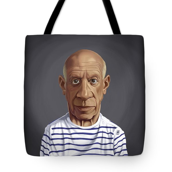 Tote Bag featuring the drawing Celebrity Sunday - Pablo Picasso by Rob Snow