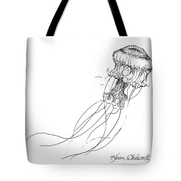 Jellyfish Sketch - Black And White Nautical Theme Decor Tote Bag