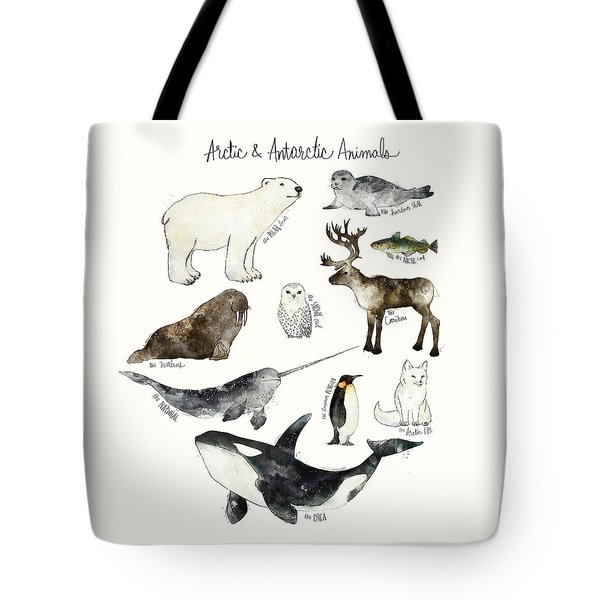 Arctic And Antarctic Animals Tote Bag by Amy Hamilton