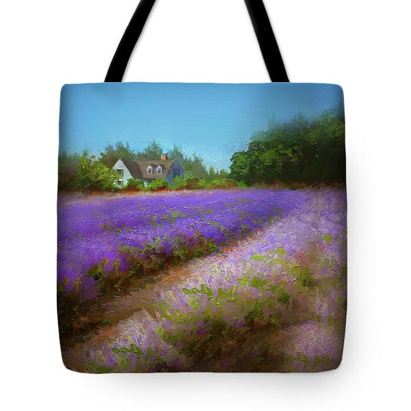 Impressionistic Lavender Field Landscape Plein Air Painting Tote Bag