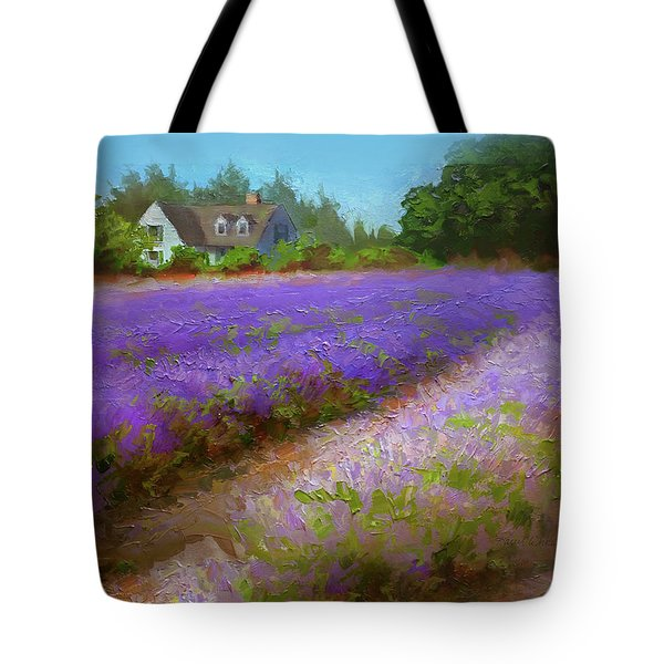 Impressionistic Lavender Field Landscape Plein Air Painting Tote Bag