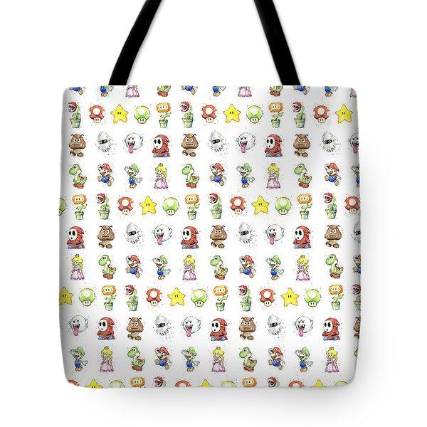 Mario Characters In Watercolor Tote Bag