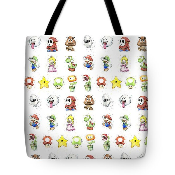 Mario Characters In Watercolor Tote Bag