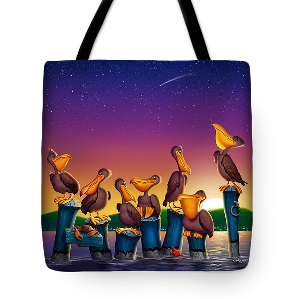 Pelican Sunset Whimsical Cartoon Tropical Birds Seascape Print Blue Orange Purple Yellow Tote Bag