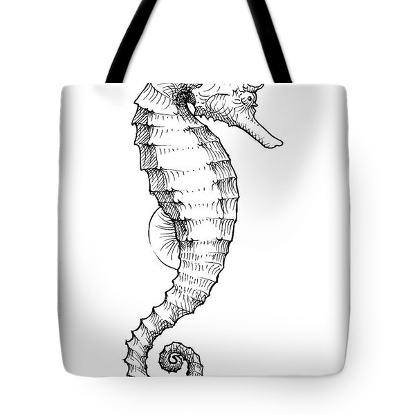 Seahorse Black And White Sketch Tote Bag