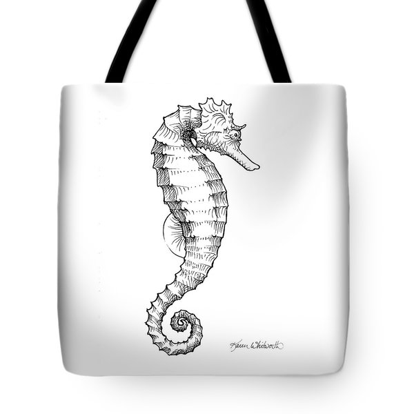 Tote Bag featuring the drawing Seahorse Black And White Sketch by Karen Whitworth