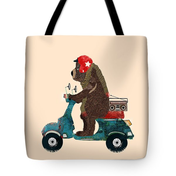 Scooter Bear Tote Bag