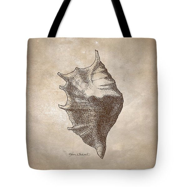 Tote Bag featuring the drawing Distressed Antique Nautical Seashell 1  by Karen Whitworth