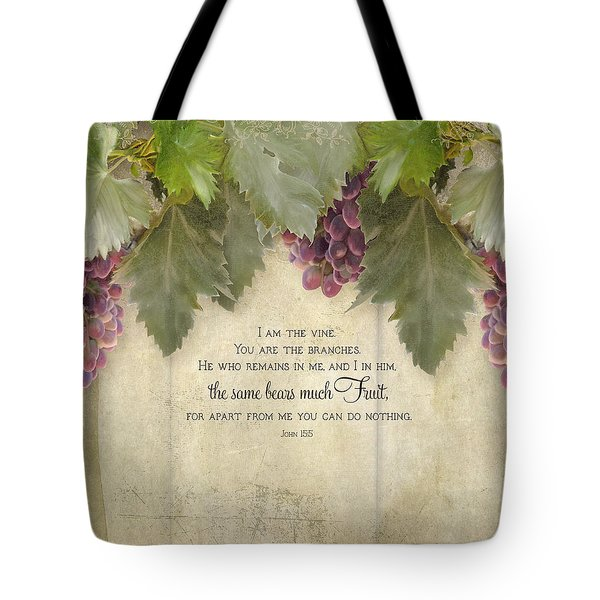 Tuscan Vineyard - Rustic Wood Fence Scripture Tote Bag