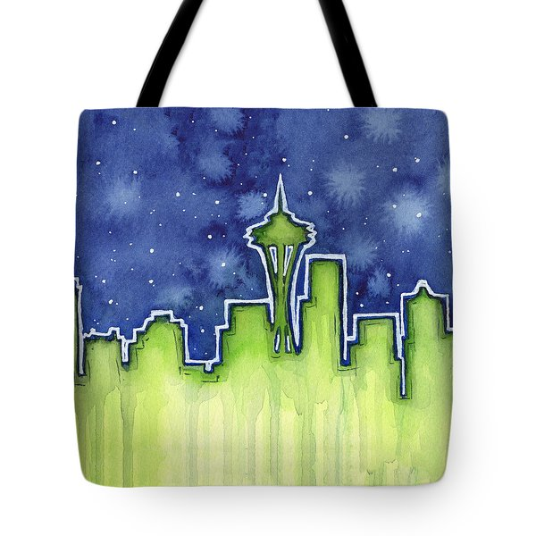 Seattle Night Sky Watercolor Tote Bag by Olga Shvartsur