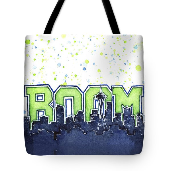 Seattle 12th Man Legion Of Boom Painting Tote Bag by Olga Shvartsur