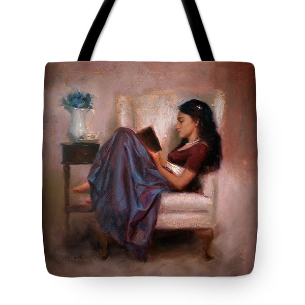 Tote Bag featuring the painting Jaidyn Reading A Book 2 - Portrait Of Woman by Karen Whitworth