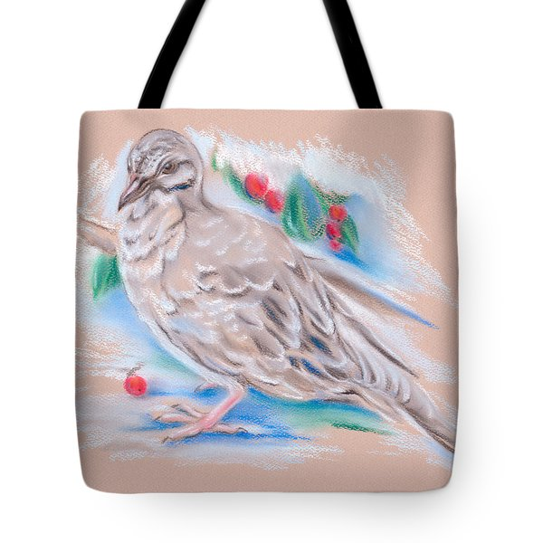 Winter Mourning Dove Tote Bag