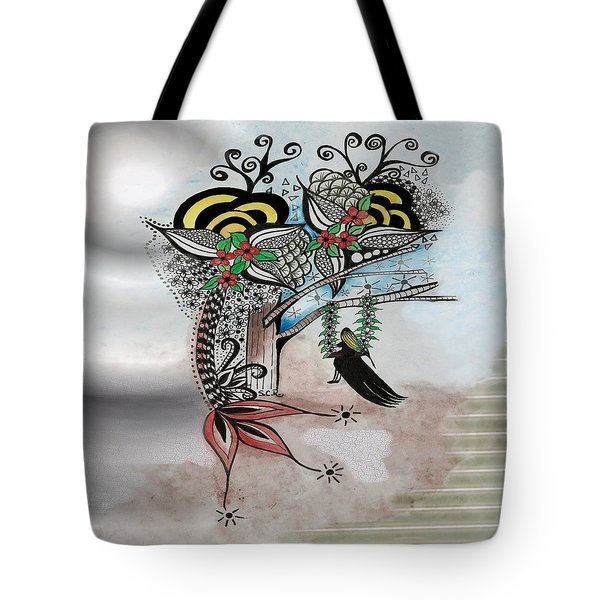 Tote Bag featuring the drawing The Swing Colorful Ink Drawing Art By Saribelle by Saribelle Rodriguez
