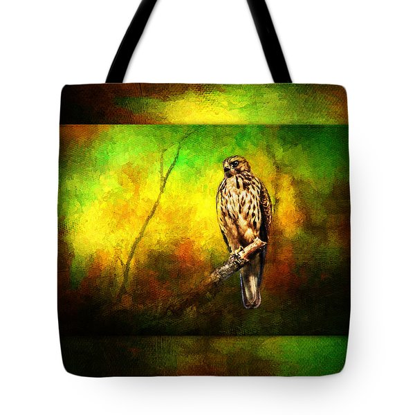 Hawk On Branch Tote Bag