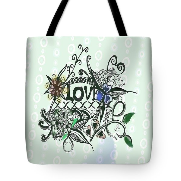 Tote Bag featuring the drawing Pen And Ink Drawing Illustration Love  by Saribelle Rodriguez