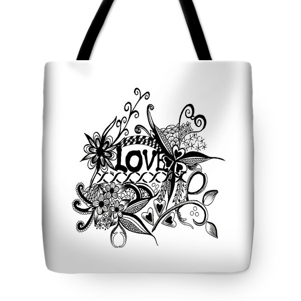 Tote Bag featuring the drawing Pen And Ink Art Love Black And White Art by Saribelle Rodriguez