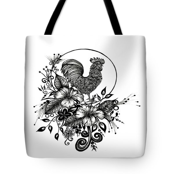 Tote Bag featuring the drawing Pen And Ink Drawing Rooster by Saribelle Rodriguez