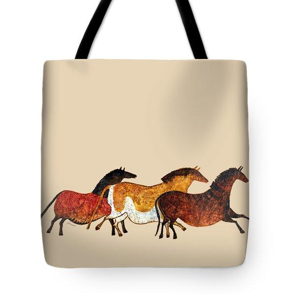 Cave Horses In Beige Tote Bag