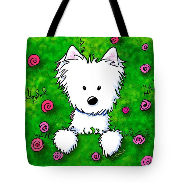 Westie In Roses Tote Bag