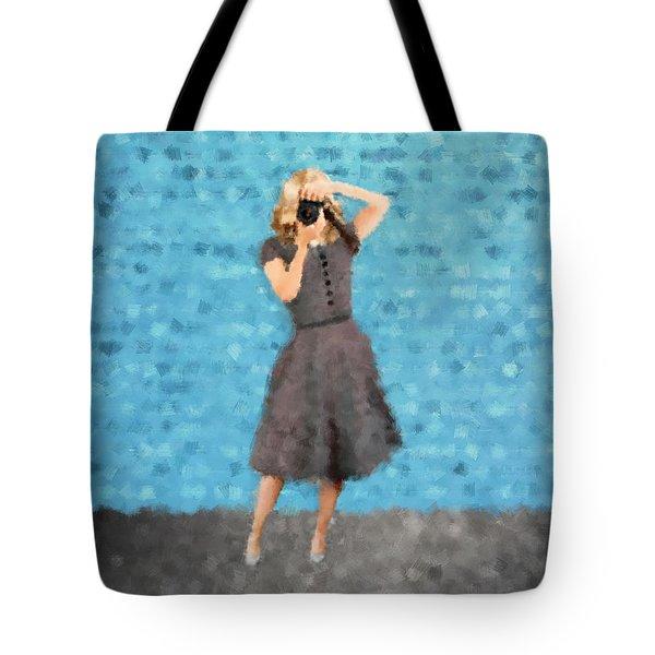 Tote Bag featuring the digital art Natalie by Nancy Levan