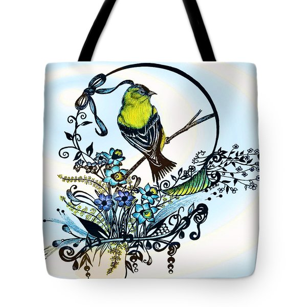 Tote Bag featuring the drawing Pen And Ink Art, Colorful Goldfinch, Watercolor And Digital Art, Wall Art, Home Decor Design by Saribelle Rodriguez