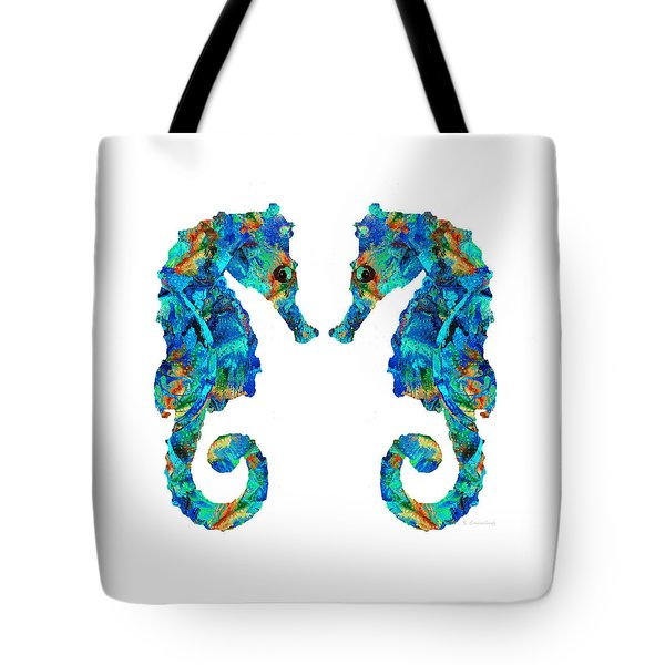 Blue Seahorse Art By Sharon Cummings Tote Bag