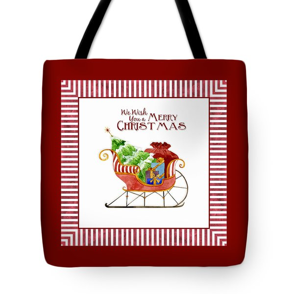 Merry Christmas Santa's Sleigh W Gifts In Snow Tote Bag