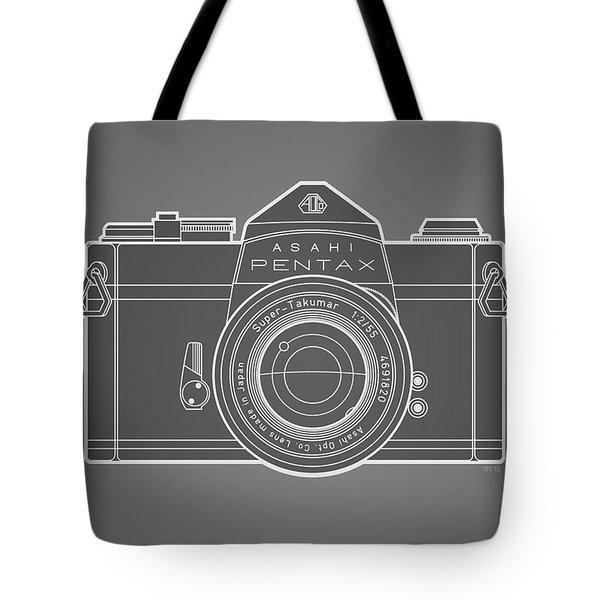 Asahi Pentax 35mm Analog Slr Camera Line Art Graphic White Outline Tote Bag