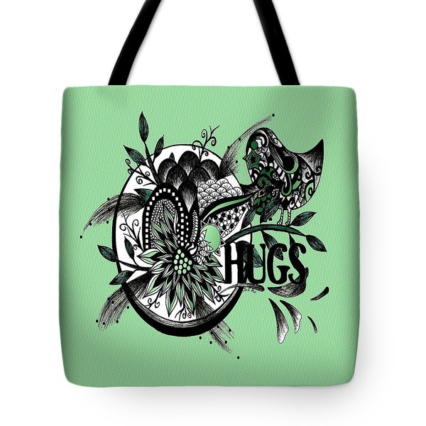 Tote Bag featuring the drawing Pen And Ink Drawing Hugs Green Art by Saribelle Rodriguez
