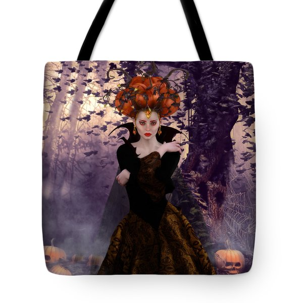 Tote Bag featuring the digital art Pumpkin Witch by Shanina Conway