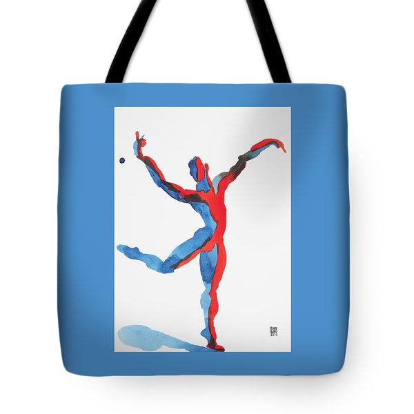 Tote Bag featuring the painting Ballet Dancer 3 Gesturing by Shungaboy X