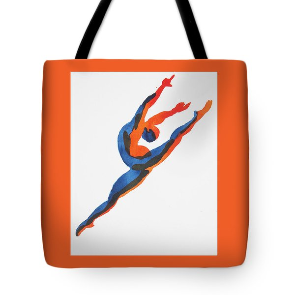 Tote Bag featuring the painting Ballet Dancer 2 Leaping by Shungaboy X
