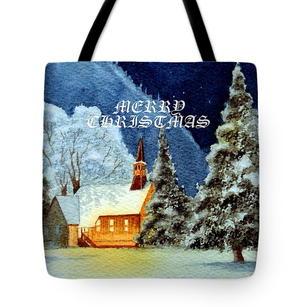 Merry Christmas Card Yosemite Valley Chapel Tote Bag by Bill Holkham