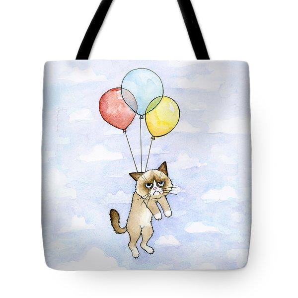 Grumpy Cat And Balloons Tote Bag
