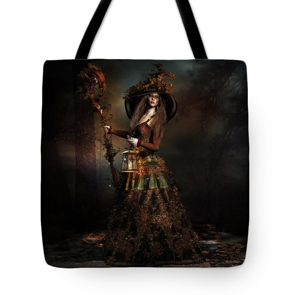 Tote Bag featuring the digital art The Wood Witch by Shanina Conway