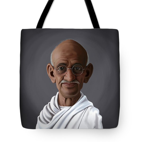 Celebrity Sunday - Mahatma Gandhi Tote Bag by Rob Snow