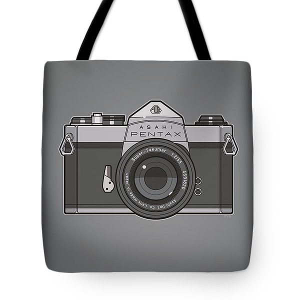 Asahi Pentax 35mm Analog Slr Camera Line Art Graphic Gray Tote Bag