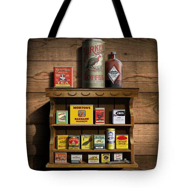 Vintage Spice Tins 2 - Nostalgic Spice Rack - Americana Kitchen Art Decor  Tote Bag