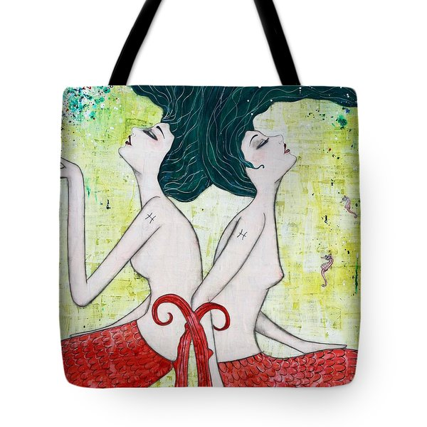 Pisces Mermaids Tote Bag by Natalie Briney