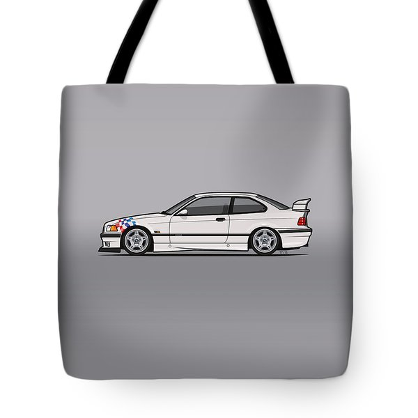 Bmw 3 Series E36 M3 Coupe Lightweight White With Checkered Flag Tote Bag