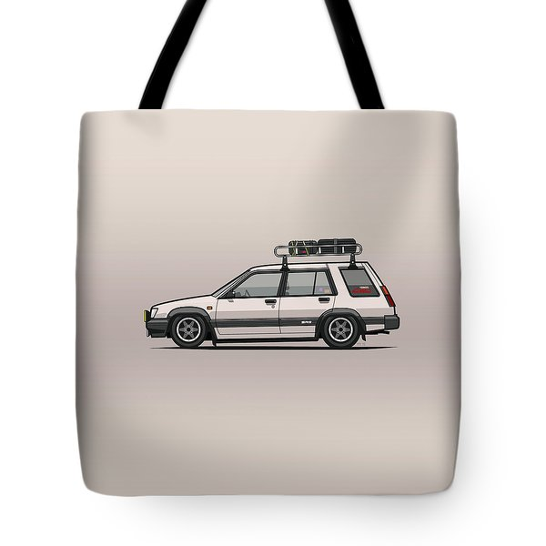 Toyota Tercel Sr5 4wd Slammed Wagon Al25 White Tote Bag