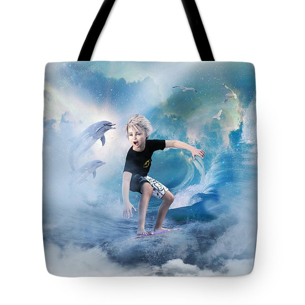 Tote Bag featuring the digital art Endless Wave by Shanina Conway
