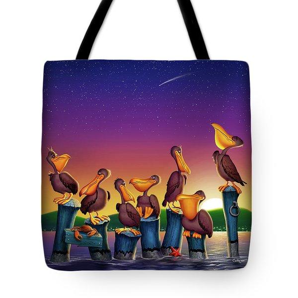 Pelican Sunset Whimsical Cartoon Tropical Birds Seascape - Vertical Tote Bag