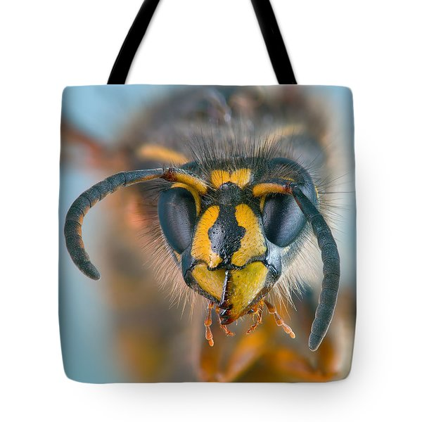 Tote Bag featuring the photograph Wasp Portrait by Alexey Kljatov
