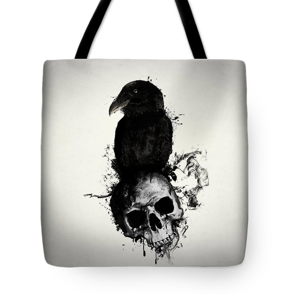 Raven And Skull Tote Bag